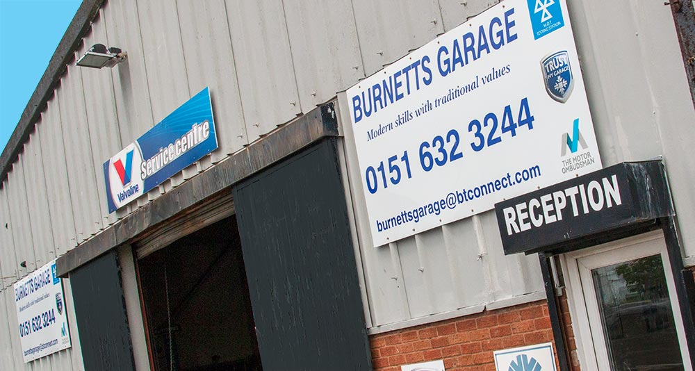 The frontage of Burnetts Garage